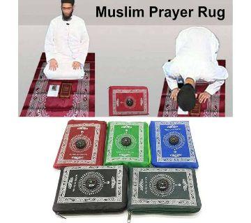 Portable Pocket Prayer Mat Jaynamaz with Qibla Direction Random Color 1 PC