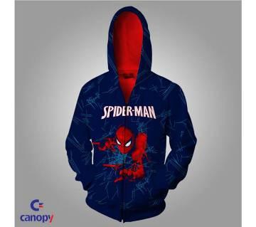 Full sleeve spiderman printed gents hoodie