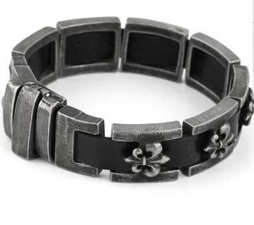 Korean Leather with Steel Bracelet