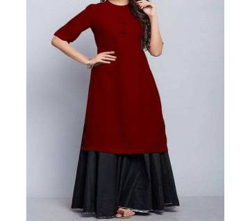 Buttersilk Stiched Kurti with Skirt