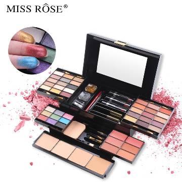 Miss Rose Makeup Box Professional Eyeshadow Lip Gloss Stick Foundation Blush Powder Makeup Kit