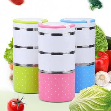 3 Layer Round Lunch Box Set – Multicolor