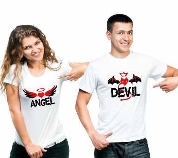 Angel Devil Valentine Celebration Couple Round Neck T-shirt Combo