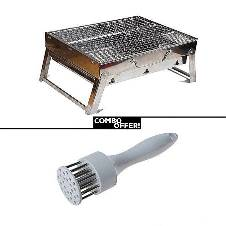 Combo of Barbecue Grill and Meat Tenderizer - Multi Color