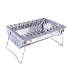 Stainless Steel Portable BBQ Grill - Silver