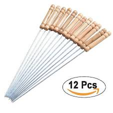 Stainless Steel 12 Pieces Barbecue Grill Sticks Set - Brown