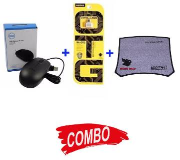 Dell USB mouse + H8 Mouse Pad + REMAX OTG Adapter - Combo Offer