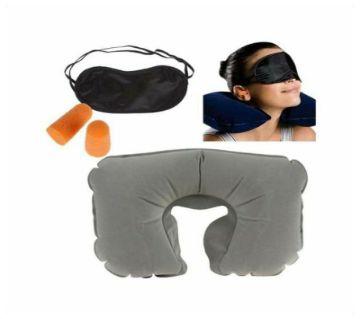3 in 1 Travel Set (Air Neck Pillow Cushion+Eye Mask+Ear Plug)