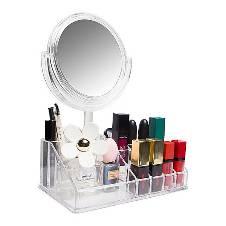 Acrylic Cosmetics Organizer with Mirror