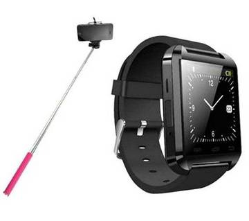 Smart Bluetooth Watch With Selfie Stick Q2B - Blac