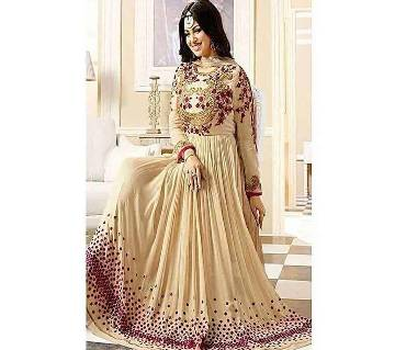 Bisque Unstitched Embroidery Georgette Gown (Copy)
