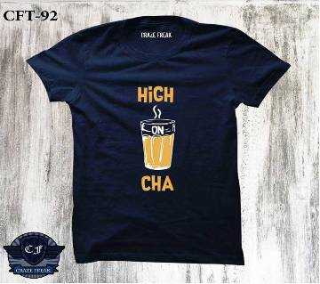 HIGH ON CHA NAVY BLUE Half Sleeve Cotton T-shirt For Men