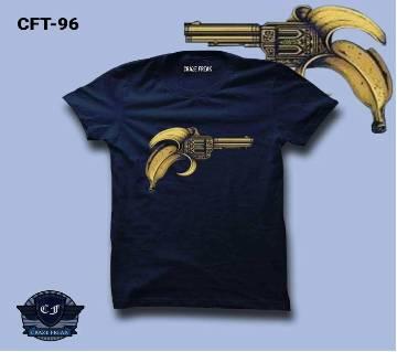BANANA NAVY BLUE Half Sleeve Cotton T-shirt For Men