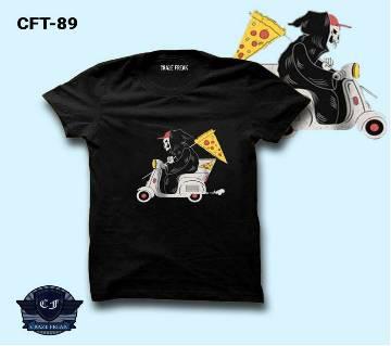PIZZA  GUY BLACK Half Sleeve Cotton T-shirt For Men