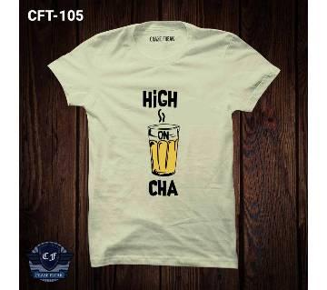 HIGH ON CHA অফ হোয়াইট হাফ স্লিভ কটন কটন টি-শার্ট ফর মেন