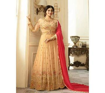 Semi Stitched Embroidery Georgette Gown - Copy