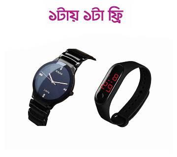এনালগ রিস্ট ওয়াচ ফর মেন -Black (Copy) (Push Type Bracelet LED ডিজিটাল স্মার্ট ব্যান্ড - ব্ল্যাক  ফ্রি)