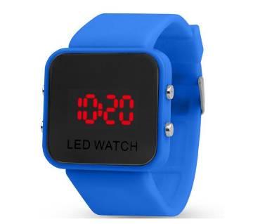 Rubber Strap LED Digital Watch -Blue