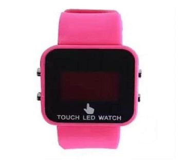 Rubber Strap LED Digital Watch -Pink