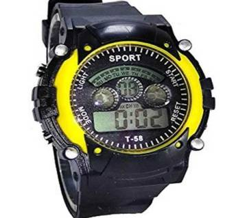 Rubber Strap Digital Watch For Kids-Black & Yellow