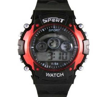 Rubber Strap Digital Watch For Kids-Black & Red