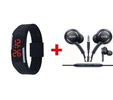Silicon Sports Watch BLACK+AKG In Ear Earphone Black Combo