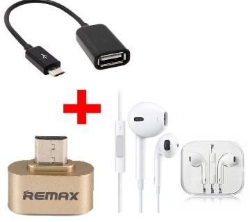Earphone + RemaxOTG Converter +OTG Adapter combo