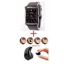 TITAN  Gents Wrist Watch (Copy)+BLUETOOTH EARPHONE  Combo Offer