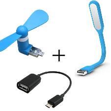 USB OTG Fan + LED Light + OTG Adapter Combo