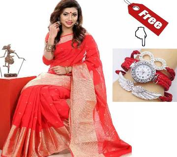 Monipuri Cotton Red Jorri Saree With Free Ladies Watch