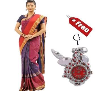 Colorful Suti Saree With Free ladies Wrist Watch
