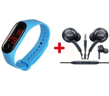 Push Type Digital Smart Band Blue+AKG IN ear earphone Black Combo