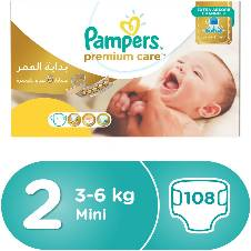 Pampers Premium Care Diapers, Size-2, 3-6 kg, 108 Pcs
