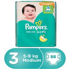 Pampers Active Baby-Dry Diapers, Size-3, 5-9kg, 88 Pcs
