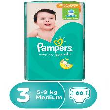 Pampers Active Baby-Dry Diapers, Size-3, 5-9kg, 68 Pcs