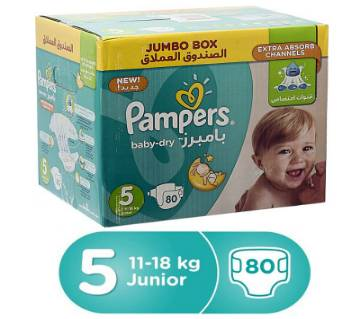Pampers Junior Baby Dry Diapers, Size 5, Jumbo Box (11-18 kg) - 80 Count