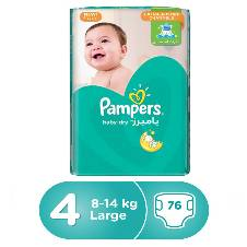 Pampers Baby-Dry Diapers, Size 4, 8-14 kg, 76 Coun -Saudia Arabia