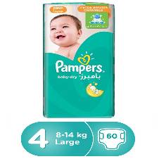 Pampers Baby-Dry Diapers, Size-4, 8-14 kg, 60 Count (Saudi Arabia)