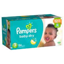 Pampers Active Baby-Dry Diapers Size -3 (Jumbo Box) - 104 Count