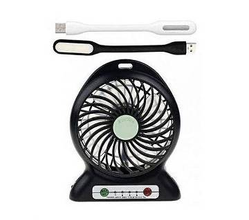 রিচার্চেবল মিনি ফ্যান উইথ ২টি USB LED লাইট