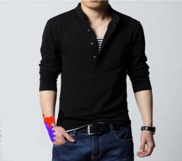 Gents Full Sleeve Cotton Polo-Shirt- Black