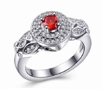 Red Stone Setting Finger Ring