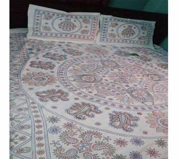 Double size nokshi print bed sheet set
