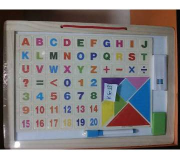 ABCD and 1234 White & Black Wooden Board Big Size