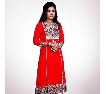 Deep Sky Blue Indian Linen Kurti For Women