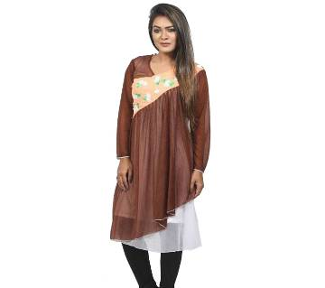 Brown Voile Long Sleeve Tops For Women