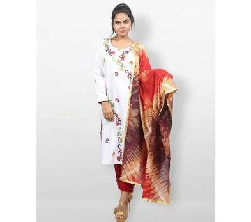 White Cotton ready made Salwar Kameez for Women
