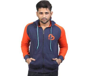 Navy Blue and Orange Cotton Hoodie for Men