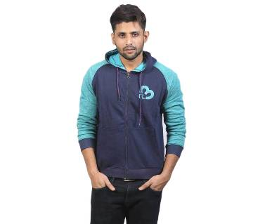 Navy Blue and Aqua Cotton Hoodie for Men