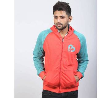 Salmon and Aqua Cotton Hoodie for Men